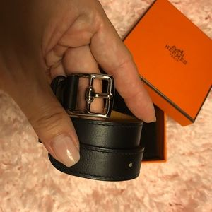 Hermes Black Calfskin Leather Etriviere Bracelet